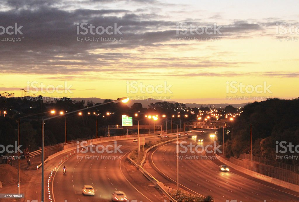 Motorway Curve at Sunset royalty-free stock photo
