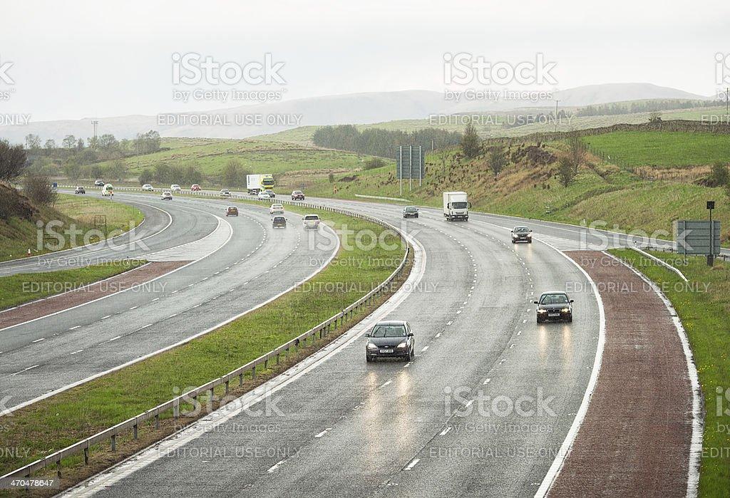 Motorway Driving in the Rain stock photo