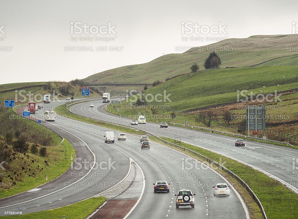 Motorway Driving in the Rain royalty-free stock photo