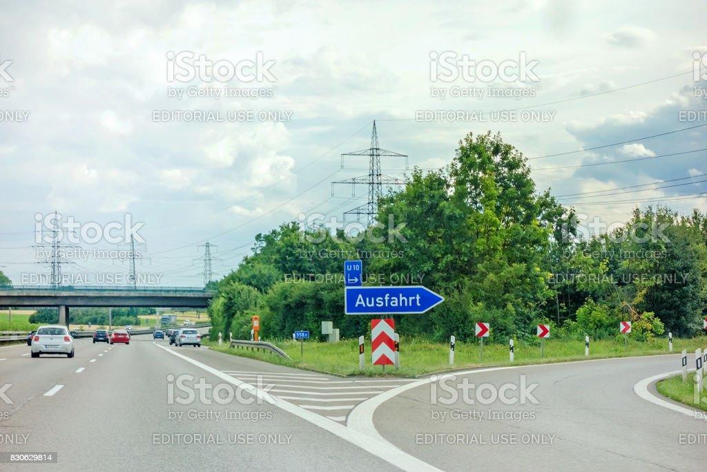 Motorway exit stock photo
