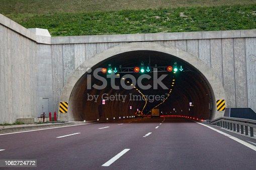 Motorway highway tunnel entrance, traffic warning signs