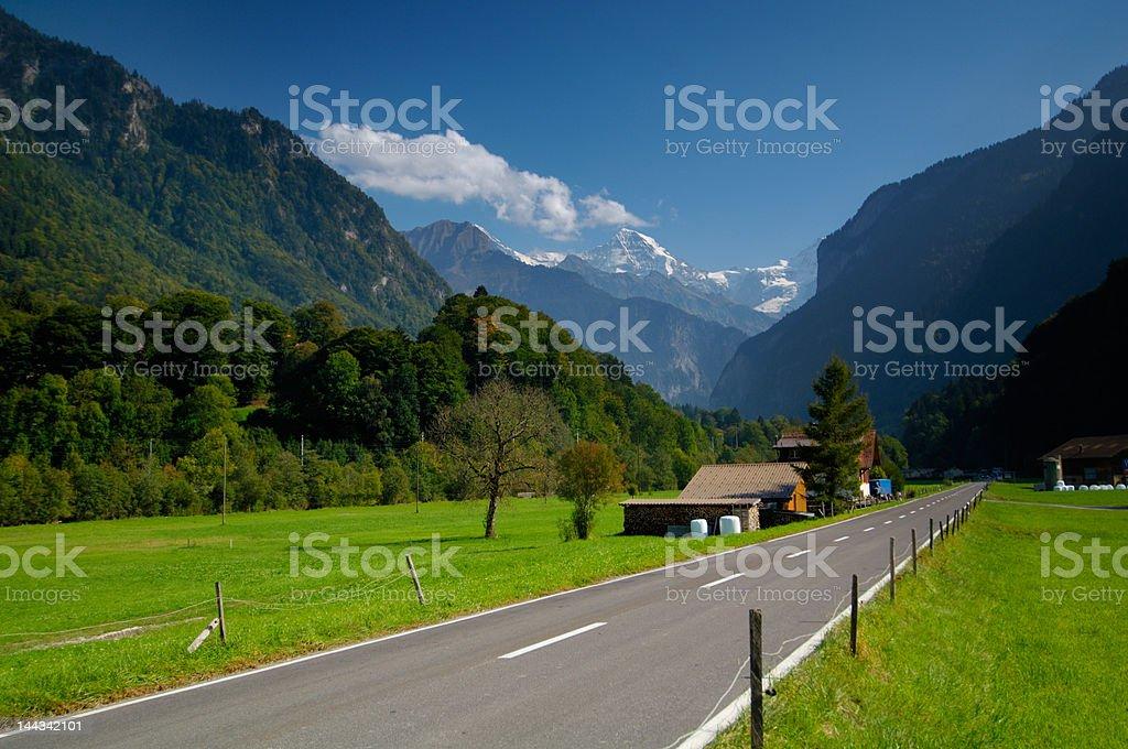 Motorway in Lauterbrunnen Valley, Switzerland royalty-free stock photo