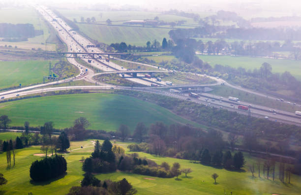 Motorway junction aerial view stock photo