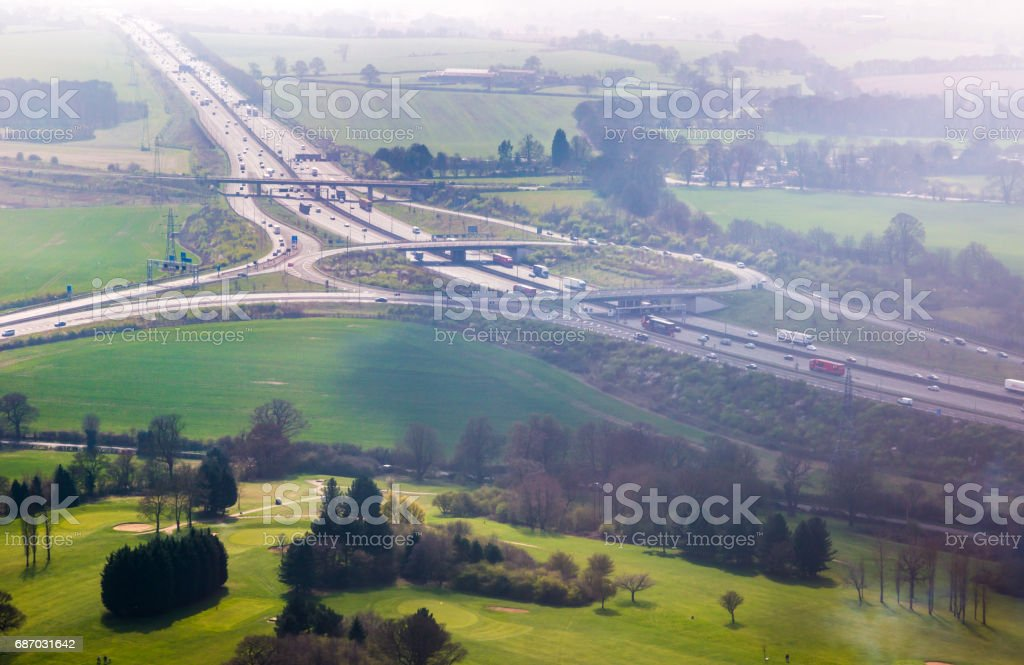 Motorway junction aerial view stock photo