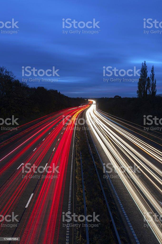 Motorway Lights at Night stock photo