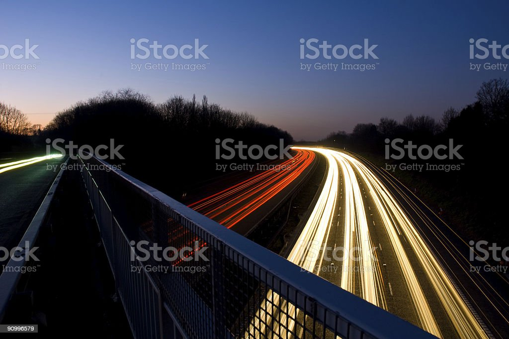 Motorway Lights at Twilight stock photo