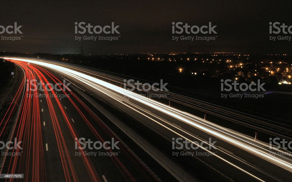 Motorway lights stock photo