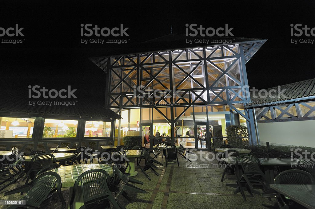 Motorway services at night stock photo