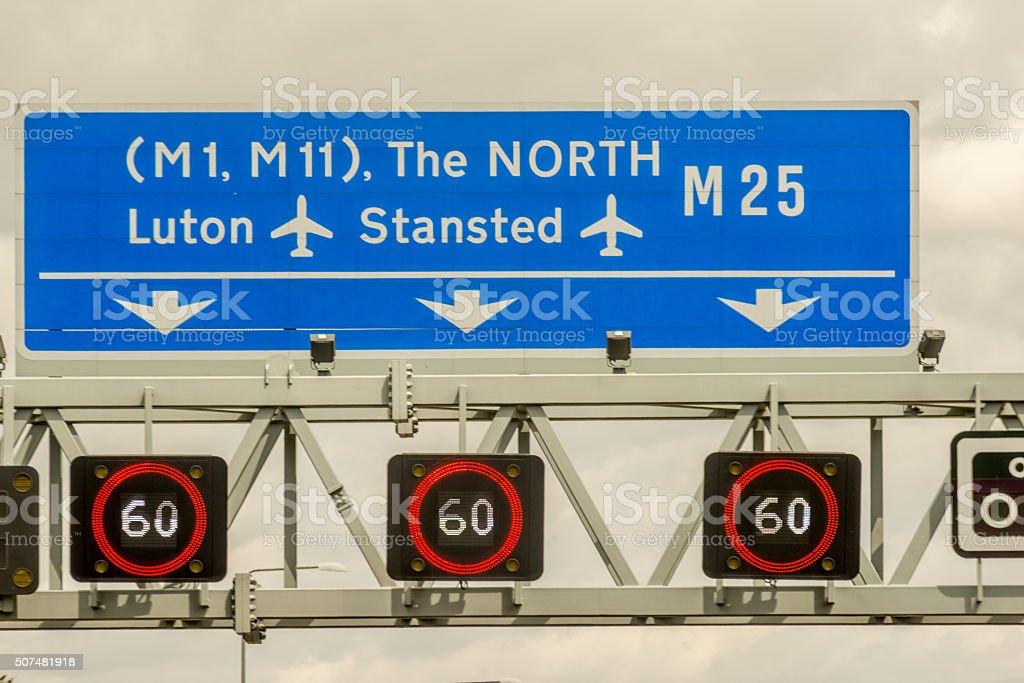 Motorway sign to the North stock photo