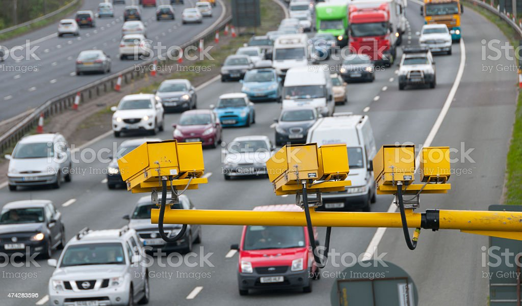 Motorway speed cameras stock photo