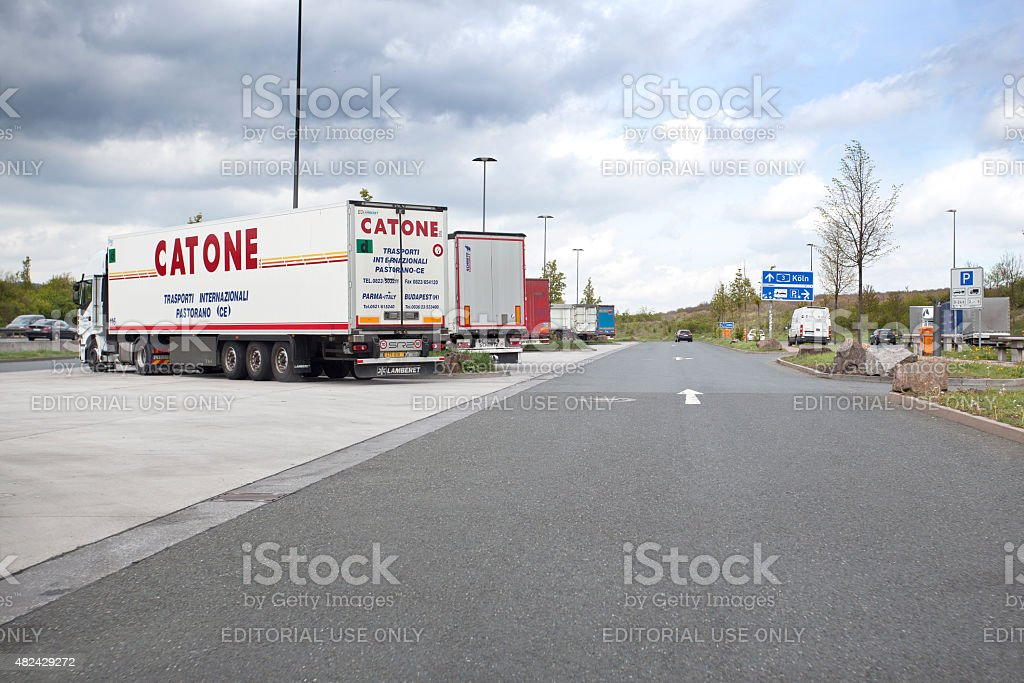 Motorway station and rest area for trucks stock photo
