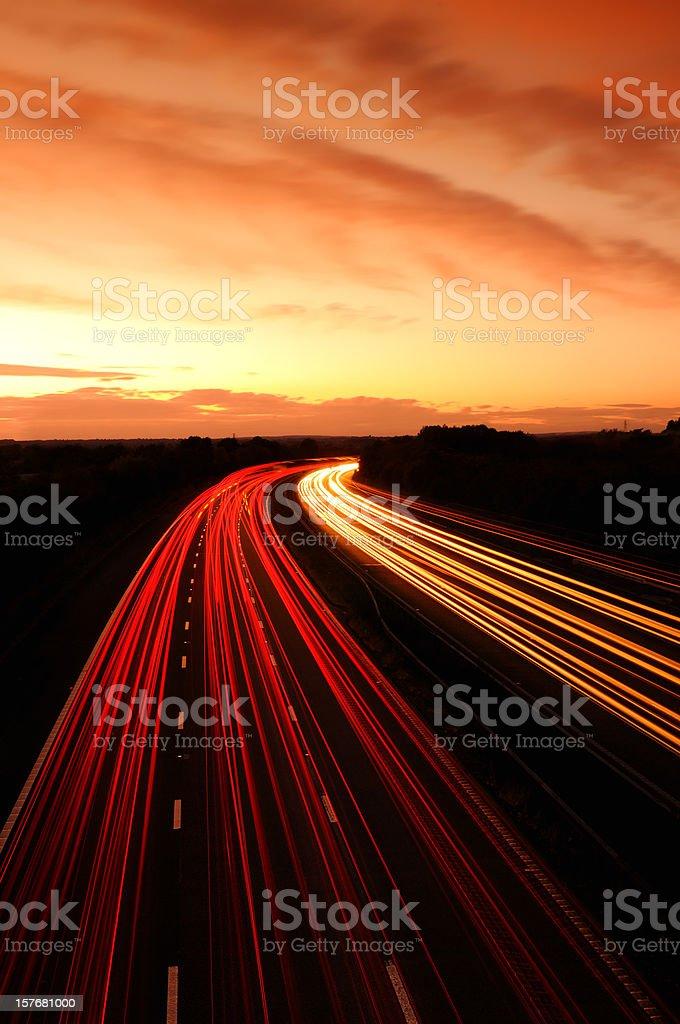 Motorway Sunset stock photo