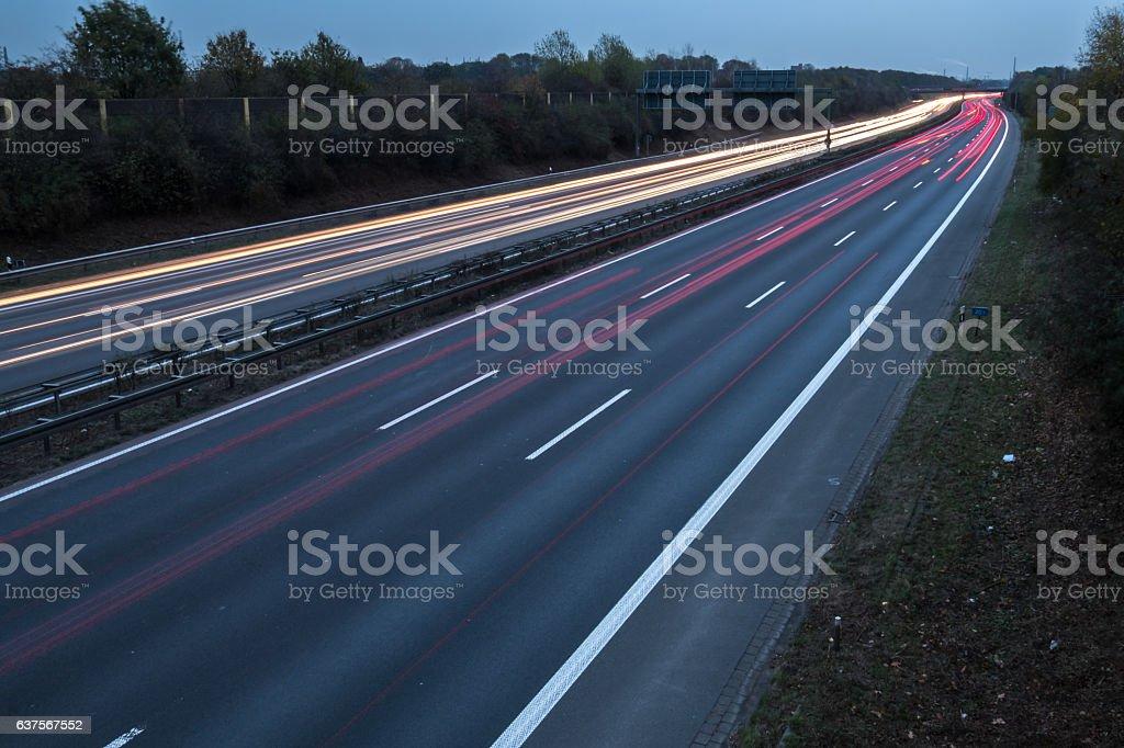 Motorway to Venlo long time exposure stock photo