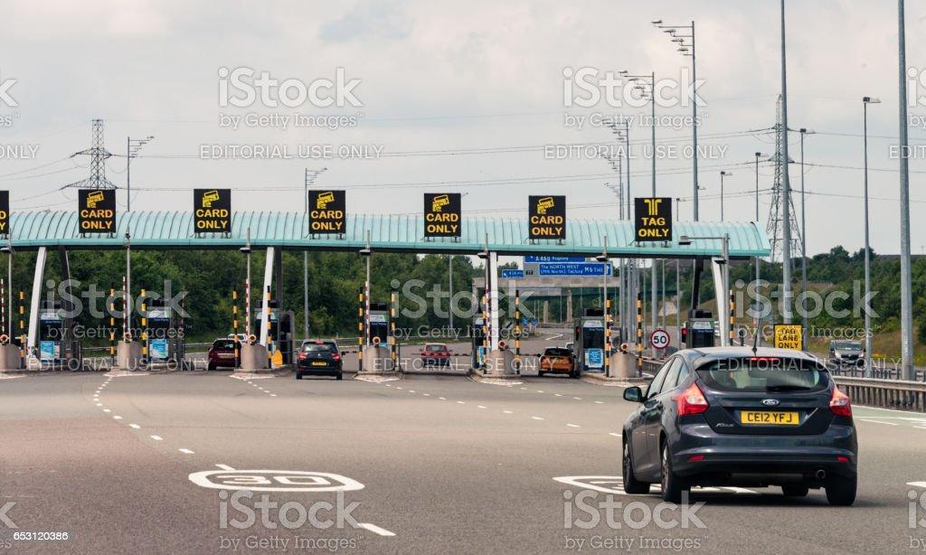 Motorway Toll approach on British Motorway stock photo