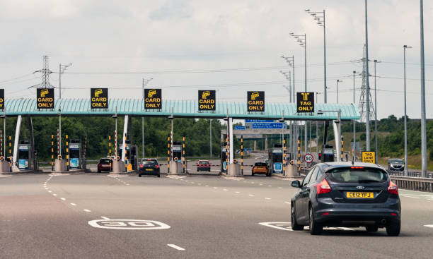 motorway toll approach on british motorway - doncaster foto e immagini stock