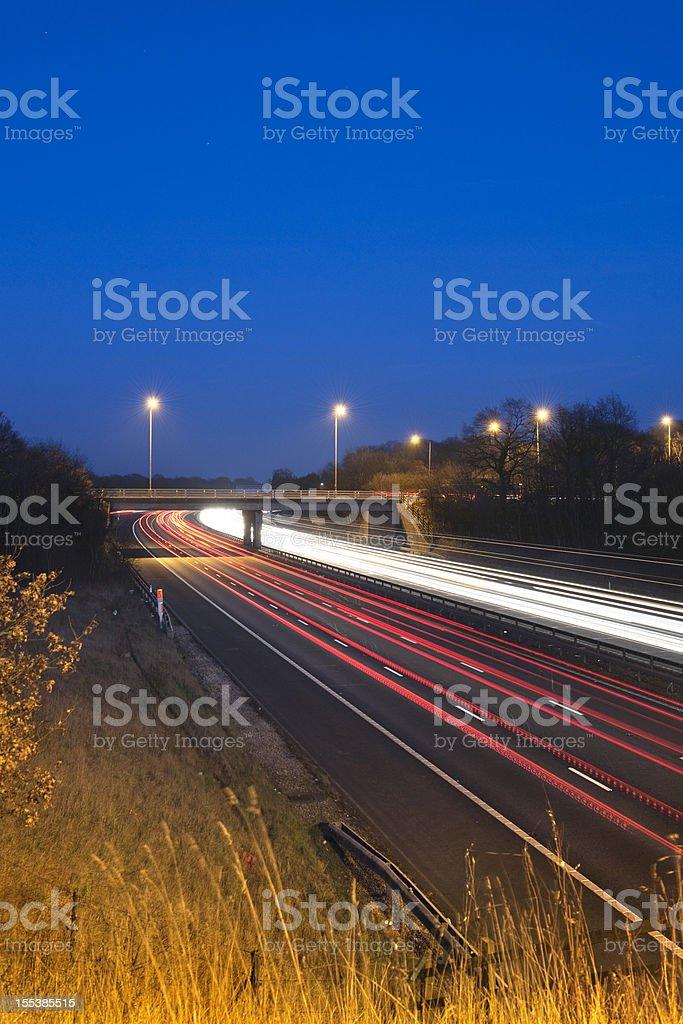 Motorway traffic and bridge near Birmingham royalty-free stock photo