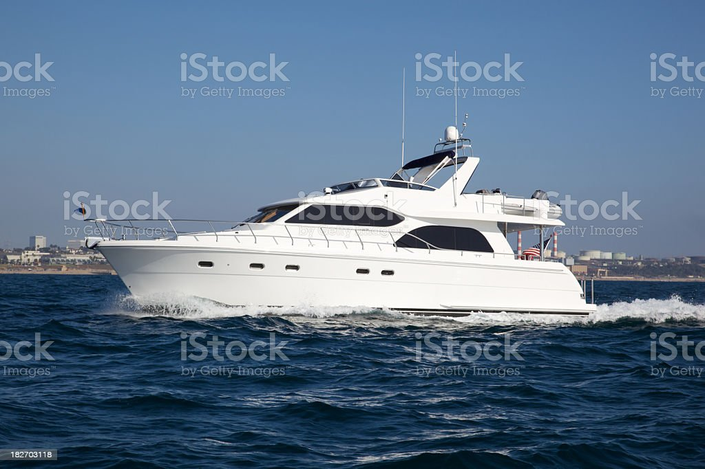 Motoryacht in Southern California royalty-free stock photo