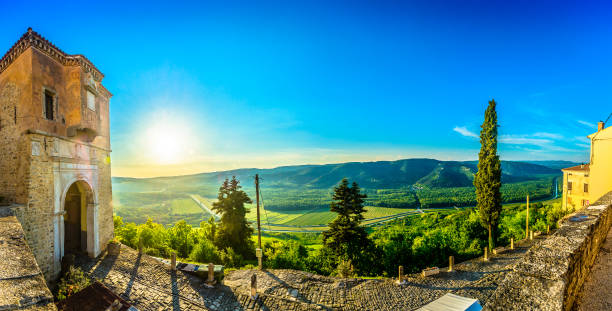 Motovun panorama landscape scenery. Panorama of Motovun town in Croatia, famous travel destination in Istria region, Europe. croatian culture stock pictures, royalty-free photos & images