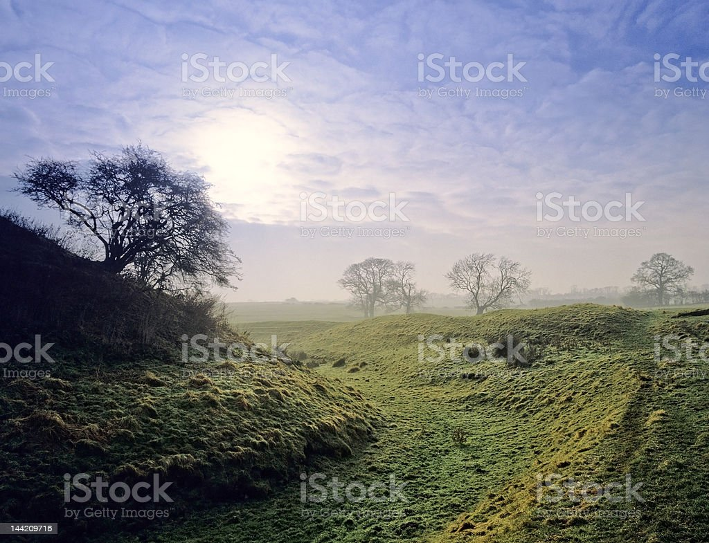 motte and bailey castle stock photo