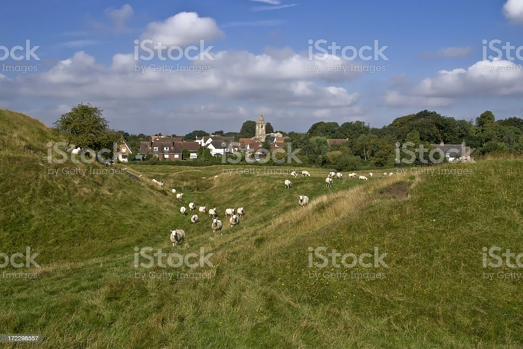 motte and bailey castle royalty-free stock photo