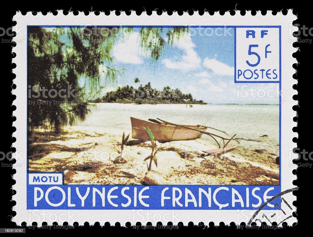 Motu, French Polynesia, postage stamp royalty-free stock photo