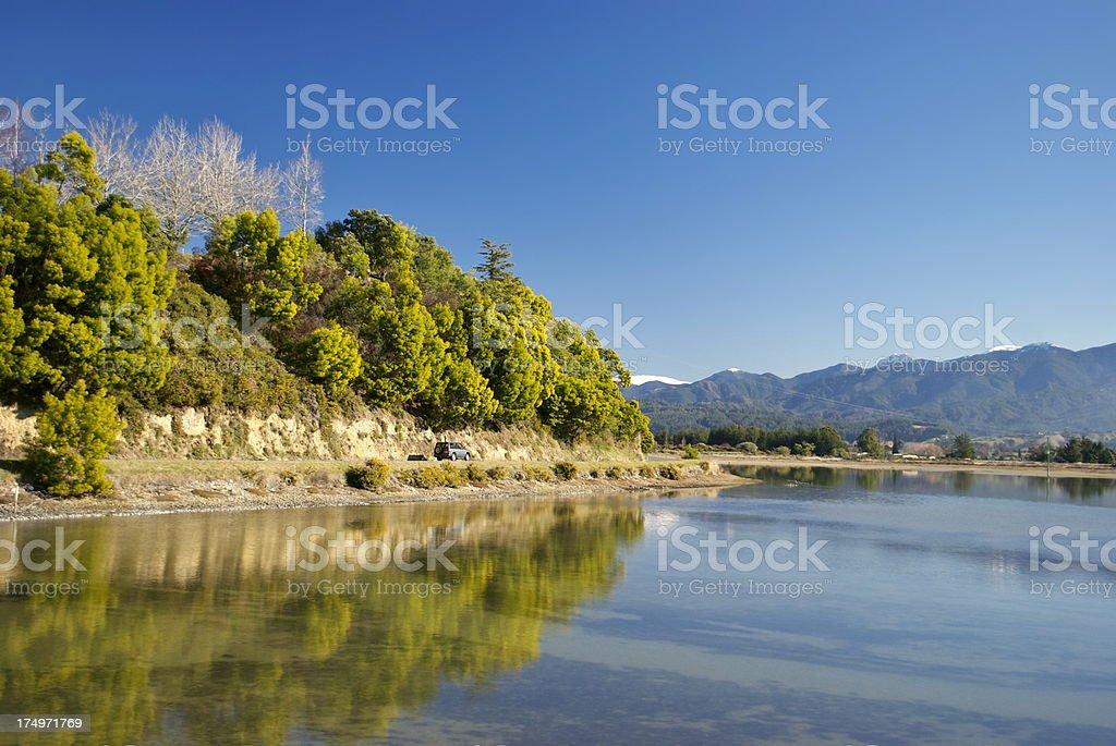 Motueka Estuary Reflection, Tasman Region, New Zealand royalty-free stock photo