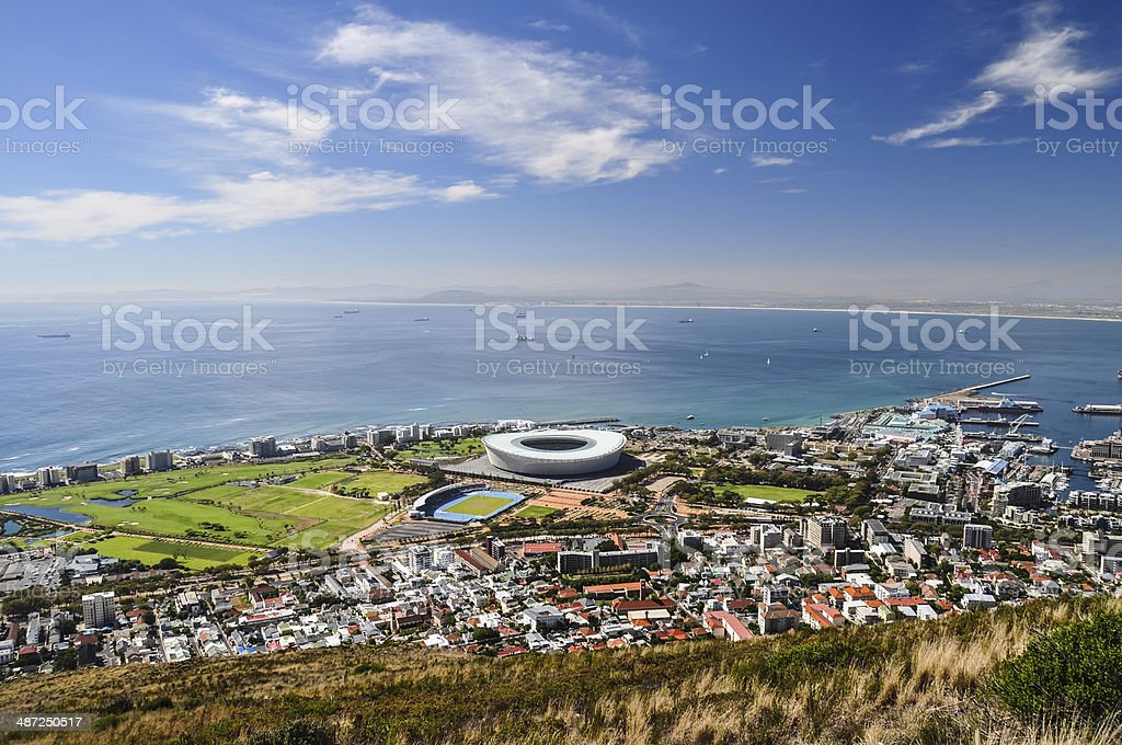 Mouille Point seen from Signal Hill - Cape Town stock photo