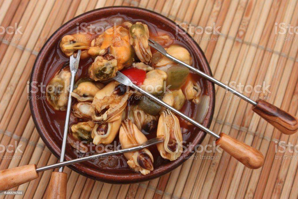 Moules à la Catalane - Pics à Cocktail - Apéritif stock photo
