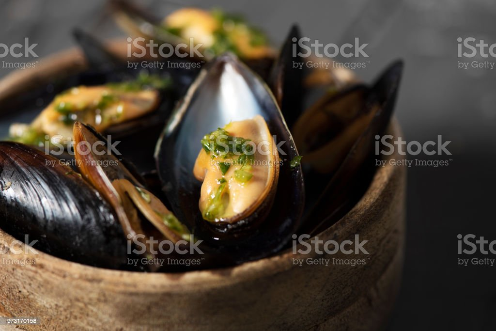 moules mariniere, a french recipe of mussels stock photo