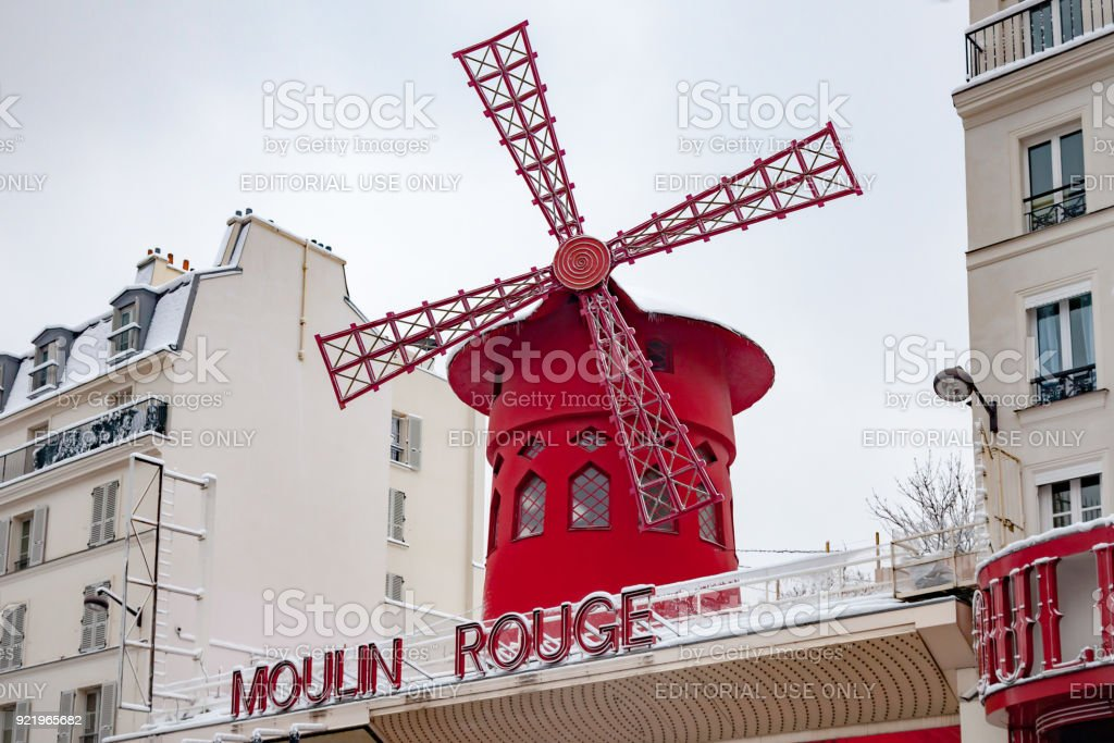 Moulin Rouge covered by snow stock photo
