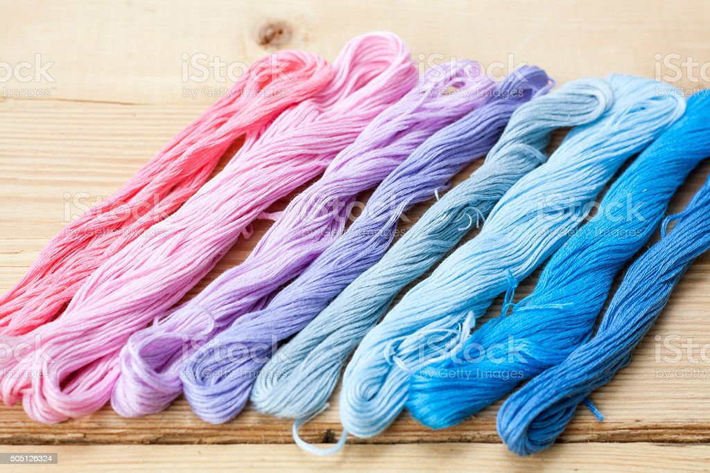 Mouline, embroidery thread stock photo