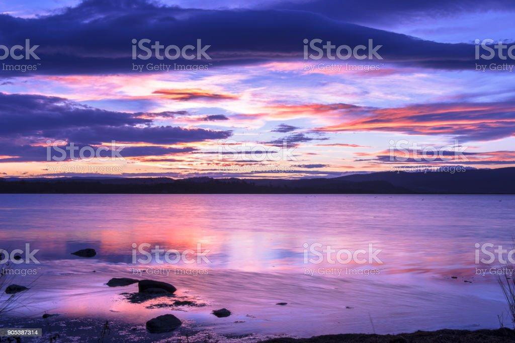 Moulting Lagoon in Tasmania, Australia stock photo