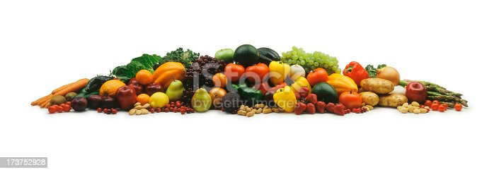 istock Mound of fruits and vegetable on a white background 173752928
