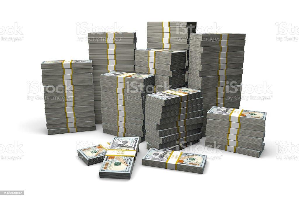 Mound of Money One Hundred Dollar Bills stock photo