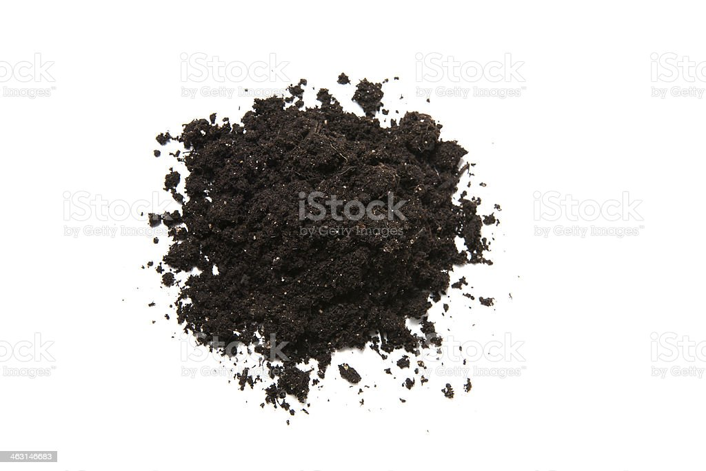 Mound of potting soil isolated on white background stock photo