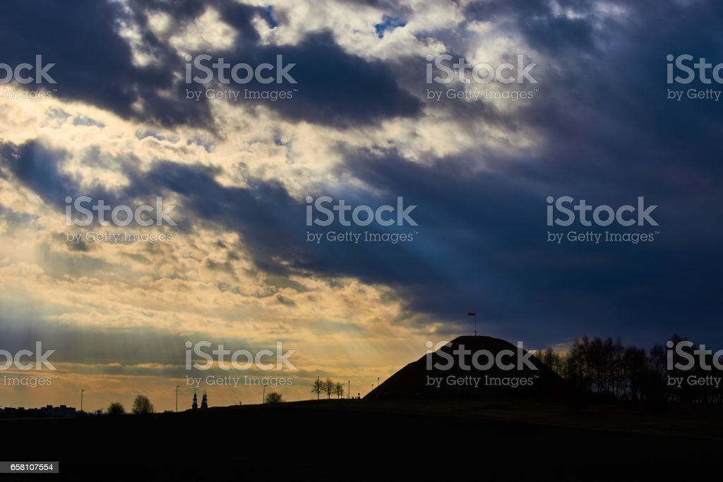 mound with polish flag royalty-free stock photo
