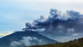 Mount Agung volcano eruption. Bali - Indonesia, 28 November 2017.