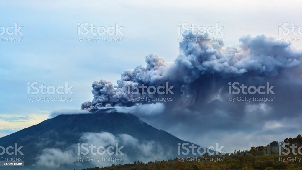 Mount Agung volcano eruption. Bali - Indonesia, 28 November 2017. stock photo