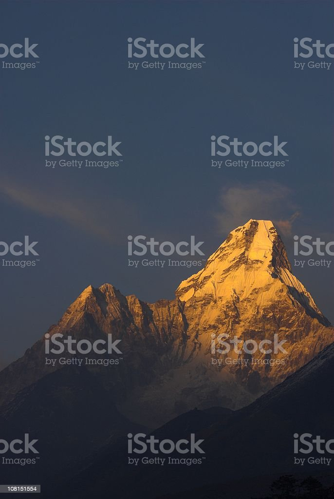 Mount Ama Dablam at Sunset Against Blue Sky royalty-free stock photo