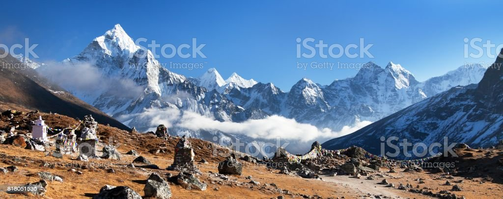 mount Ama Dablam, beautiful view from Khumbu valley stock photo