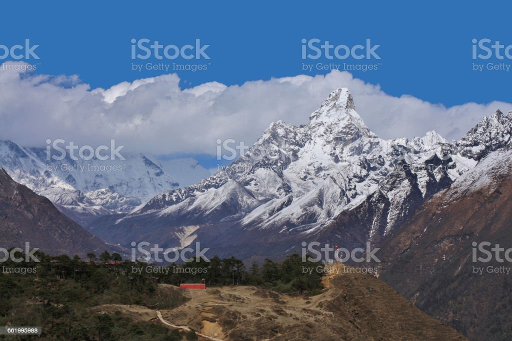 Mount Ama Dablam seen from Khumjung royalty-free stock photo