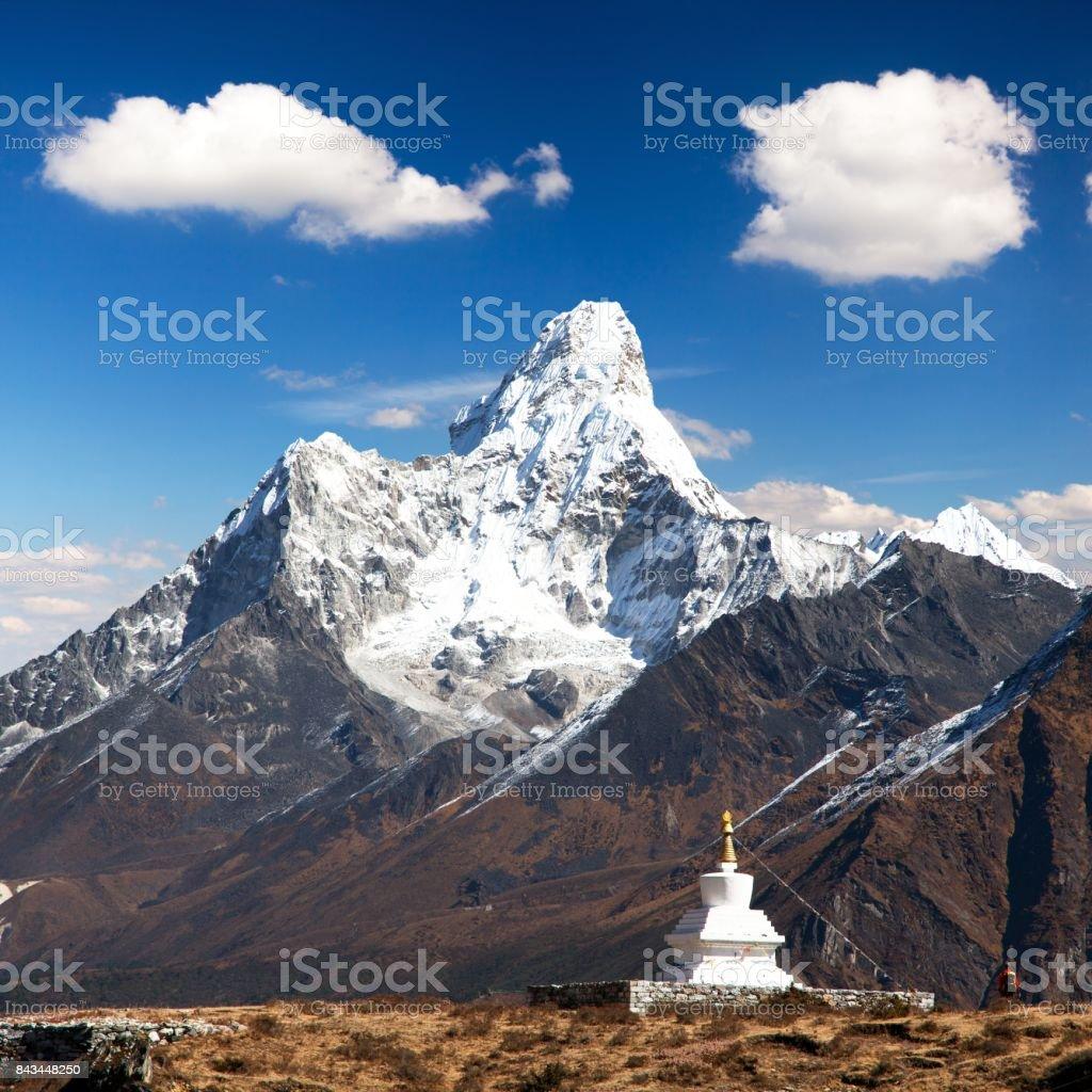 Mount Ama Dablam with stupa near Pangboche village stock photo