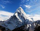 Mount Ama Dablam within clouds, way to Everest base camp, Khumbu valley, Solukhumbu Sagarmatha national park, Everest area, nepalese himalayas, Nepal