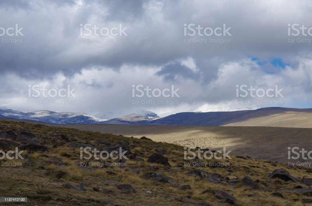 Mount Aragats covered by clouds. View to highland meadow on mountain slope. Armenia. stock photo