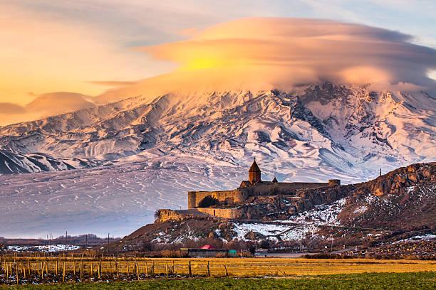 Mount Ararat from Armenia. Sunrise over Ararat in Armenia with Khor Virap Monastery yerevan stock pictures, royalty-free photos & images
