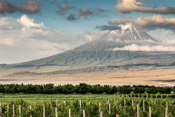 Mount Ararat in a landscape of Armenia Mount Ararat in a landscape of Armenia armenia country stock pictures, royalty-free photos & images