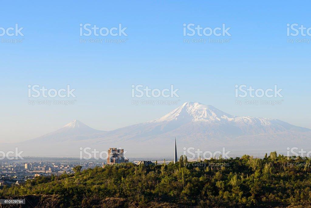 Mount Ararat viewed from Yerevan, Armenia stock photo