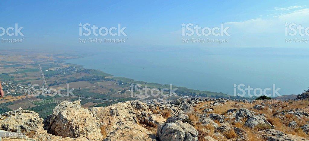 Mount Arbel Panorama stock photo