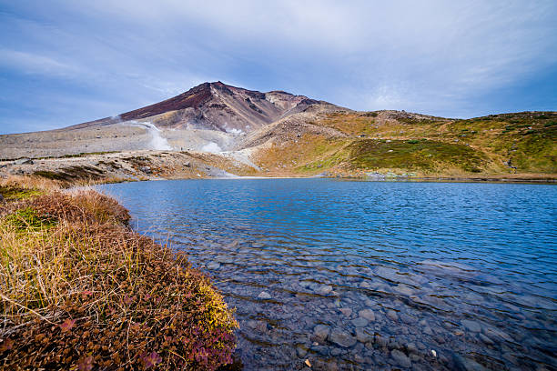 Mount Asahidake with Sugatami pond stock photo
