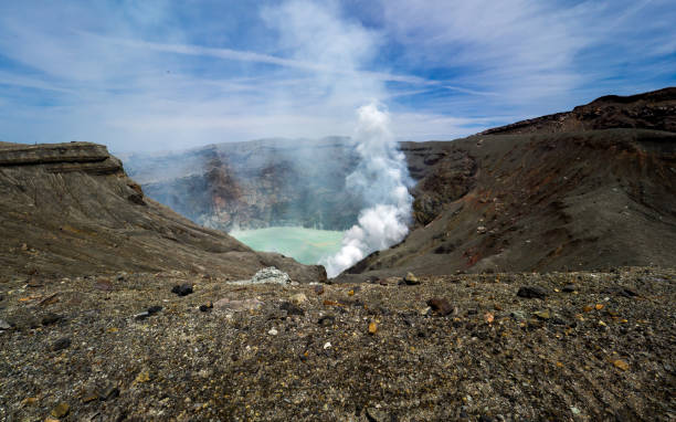 Mount Aso crater stock photo